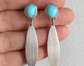 Sky Blue Sky, Turquoise and Silver dangle earrings, sleeping beauty, natural turquoise, baby blue