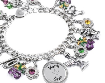 Mardi Gras Bracelet, Mask charms created in Stainless Steel and Purple, Green and Gold crystals