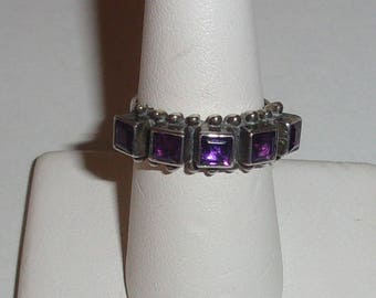 Navajo Southwest Sterling and Amethyst Stones Ring-Signed JUAN WILLIE-sz 6.75