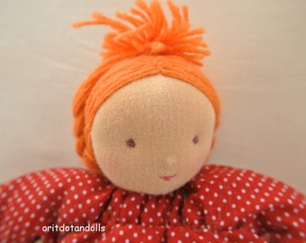 Waldorf doll, pillow doll- 8inch \ 20cm-handmade, no machine involved, בובת וולדורף