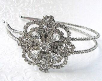 20s Deco Style Flower Side Jeweled Wedding Headband Double Row Rhinestone Diadem Vintage Jewelry Hairpiece Large Gatsby Downton Chic Bride