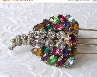 20% SALE Rhinestone Jewelry Wedding Hairpiece Jeweled Comb Bridal Headpiece Bohemian Chic Vintage Fruit Salad Boho Hair Accessory Formal Hai