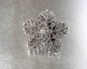 Rhinestone Snowflake Brooch Christmas Bride Holiday Wedding Formal Winter Bouquet Lapel Hat Pin Bridal Prom Boho Chic Vintage Something Old