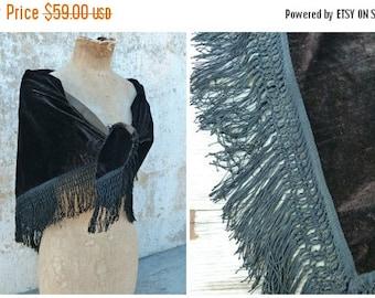 ON SALE 20% Vintage Antique Victorian French capelet scarf shawl black velvet  and fringes