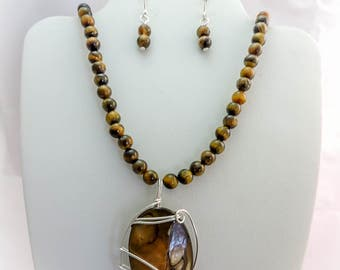 Tigers Eye Necklace, Earrings, and Pendant Set