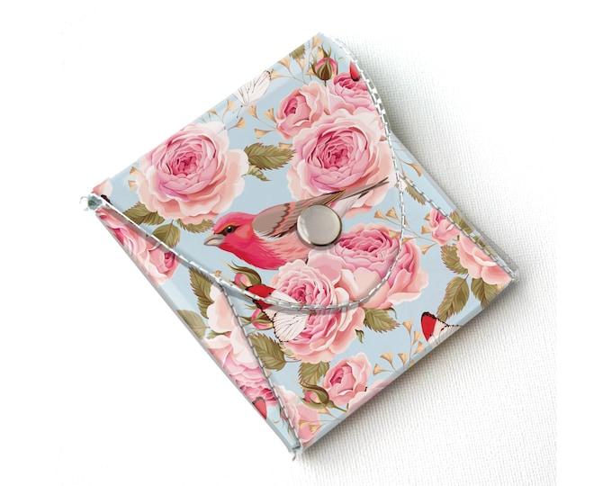 Vinyl Coin Purse - Vintage Roses 1/ floral, bird, wallet, vegan, change, snap, small, little, pocket wallet, gift, flowers, pretty, blue