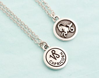 Silver Capricorn Necklace - Personalized Zodiac Necklace - Zodiac Jewelry - Birthday Gift -  Astrology Pendant - Gift For Daughter