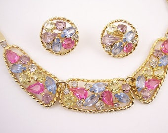 Vintage Pastel Rhinestone Necklace Set