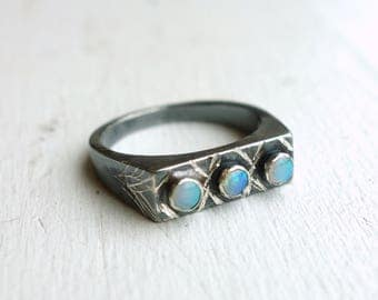 Black Sterling Silver Graffiti Ring with Three Genuine Opal Cabochons