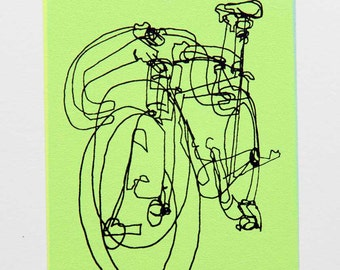 Bicycle Art Print - Windsor Track Bike Scribble- Black on Yellow Blue