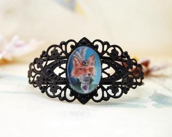 Mrs. Fox Adjustable Bracelet Fox Bracelet Fox Jewelry Black Cuff Bracelet Gothic Bracelet Animal Bracelet