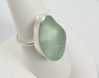 Sea Glass Jewelry Sea Glass Ring Aqua Sea Glass Ring Beach glass Jewelry Sea Glass Ring Gift for Her Christmas Gift Size 9.5  - R-140