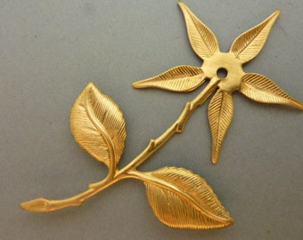 3 Brass Rose Flower Branch Findings