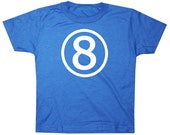 Kids CIRCLE Eighth Birthday T-shirt - Royal Blue