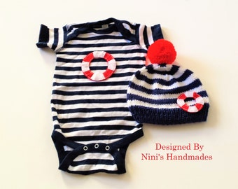 Knit Nautical Lifesaver inspired Baby hat and One-Piece Set, nautical baby apparel,  lifesaver Newborn photography, Baby shower gift