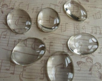 On Sale 25% Off Clear 25x18mm Magnifying Glass Cabochons 12 Pcs