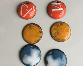 Enamel on Copper Discs, Orange Enamel, Yellow Enamel, Blue Enamel, Cross Enamel Discs, Rustic Enamel, Jewelry Supplies, Etsy, Etsy Jewelry