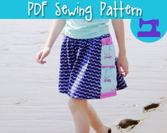 PDF SEWING PATTERN - The Beachcomber Skirt - Sizes 4-14, exploring skirt, pocket skirt, easy sewing pattern, treasure skirt, girls skirt