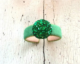 Green Ultrasuede Dot Cuff with Sequins and Beads