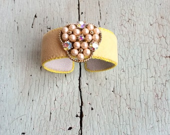 Citrus Yellow Adjustable Cuff with Pearls and AB Rhinestones