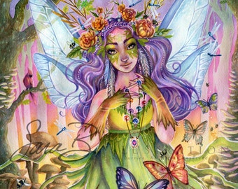 Fairy Art Print Oak Fairy with Barn Owls and Butterflies