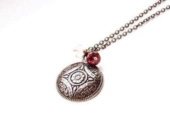 Fine Silver Oxidized Mixed Metal Medallion Garnet Morganite Necklace Pendant