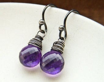 Micro Faceted Oxidized Sterling Silver Minimalist Purple Amethyst Dangles February Birthstone