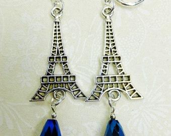 Steampunk Earrings Silvery Eiffel Tower Charms with Dark Blue Crystal Teardrop Beads on Lever Back Earwires