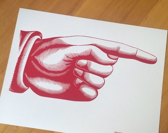 Giant POINTY FINGER Pointing RIGHT Hand Printed Letterpress Poster on Kraft cardstock