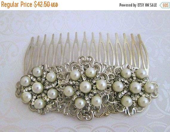 20% SALE Pearl Wedding comb,  Bridal hair Clip, pearl Barrette, Vintage Style, Wedding Hair clip, pearl bridal comb, pearl headpiece, hair b