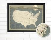 Push Pin Map, Personalized Baseball Stadium Push Pin Travel Map, Customized USA Baseball Pushpin Wall Map Art