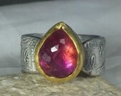 RESERVED FOR D ,Tourmaline Statement Ring, Solitaire Ring,  22 kt yellow  gold , silver  and Stone ring, gemstone slice ring