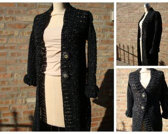 Open Front Cardigan - Crochet - Black with Beige Speckles - Shrug, Sweater, Duster