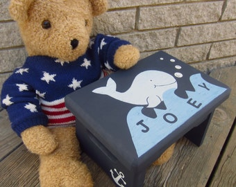 WHALE Kids Wood Step Stool - Original Hand Painted HALE NAVY - Sturdy Solid Wood