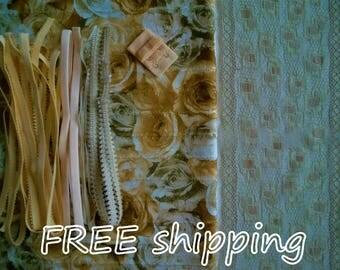 FREE Ship DIY Fabric + Notions Fringed Yellow & Khaki Roses for 1 BRA + Panty by Merckwaerdigh