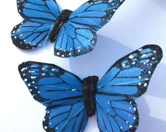 Butterfly Hair Clips blue with black feather Monarch butterfly hand made hair clip by Ziporgiabella  sold individually