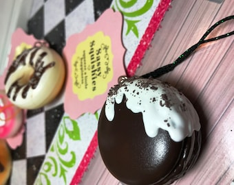 SASSY SQUISHIES Squishy Party Favor Gift Collection Hobby in Chocolate Frosted Mini Chocolate Macaron