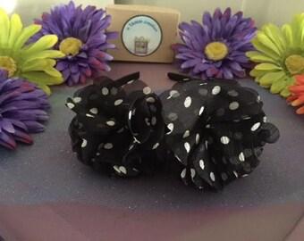 Black and White Polka Dot Flower Headband