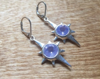 Lavender Moon Quartz and Sterling- North Star Earrings