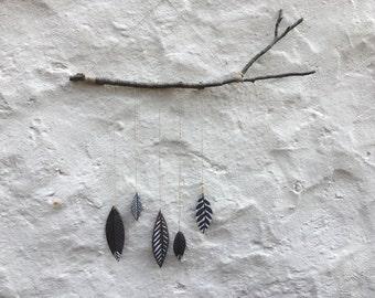 Handmade Ceramic Spirit Stick (5 feathers)