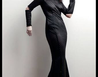 Black Laser cut Futuristic faux Leather Fishtail Mermaid Gown Maxi Dress w/pockets 4
