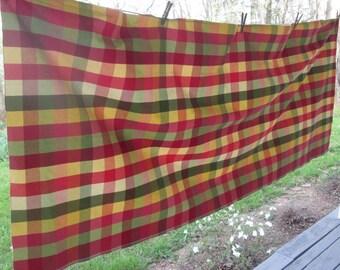 Vintage Decorator Fabric - Olive/ Gold/ Rusty Orange Plaid