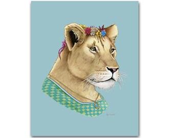 Lion Lady art print - Animal art - Nursery art - Nursery decor - Animals in Clothes - Children's art - Ryan Berkley Illustration 5x7