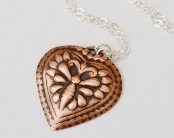 Bee Impression Copper Heart | Heart Necklace | Bee Heart Necklace | Love Necklace | Copper