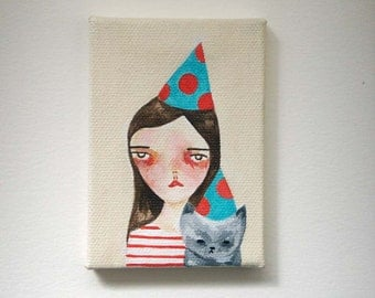 original small painting, canvas painting, mini painting, a party for the cat