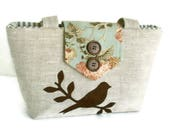 Pure Linen - Bird on a Branch Wayfarer Purse - Shoulder Bag - French Country - Spring/Summer
