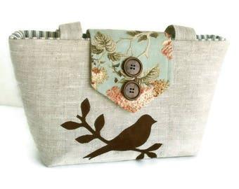 Pure Linen - Bird on a Branch Wayfarer Purse - Shoulder Bag - French Country - Spring/Summer