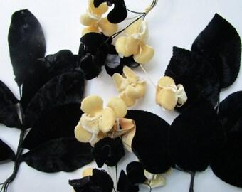 Czech Velvet Vintage 1950s Flowers Leaves Black Beige Millinery Hat Trims Wired