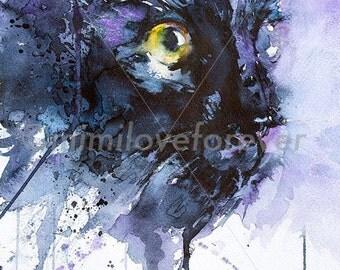 Cat Art Print. Cat Lover Art. Cat Watercolour Print. Black Cat Print. Cat Wall Art.