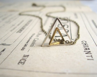 Double Triangle charm necklace - geometric mixed metals on brass - modern jewellery